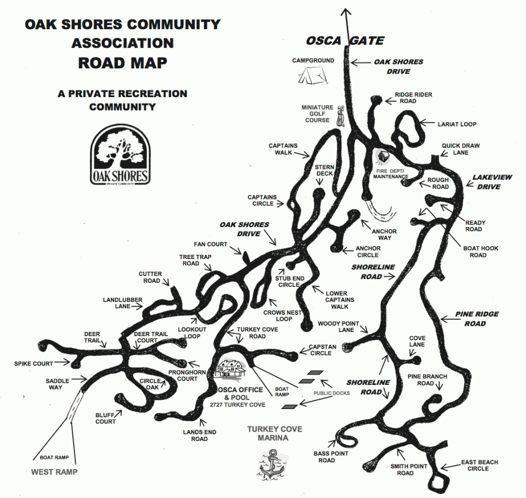 Map of the Oak Shores community